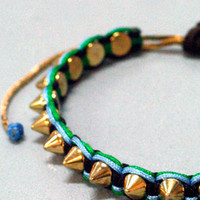 Serefina Spiked Friendship Adjustable Bracelet Gold with Mod Green