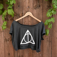 Deathly Hallows Crop Top - In &quot;almost black&quot; - One Size - American Apparel Loose Crop T