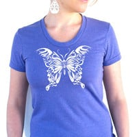 Butterfly - American Apparel - Ladies Tee - Tri Blend Track - S, M, L, XL