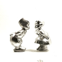 kissing couple figurine set, valentines day,  chrome, metallic silver, home decor, romantic, kitschy figurines, vintage ceramics