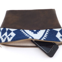Tribal Pendleton and leather clutch // wool bag // leather purse // Blue tribal wool and brown leather // zipper pouch //