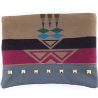 Studded Tribal Pendelton and Leather Clutch //  Brass // wool // slate blue leather // large zipper pouch // purse