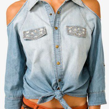 Cutout Bejeweled Denim Shirt