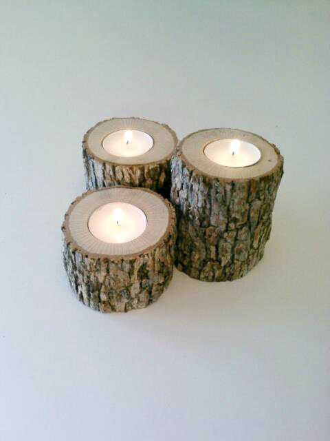 Log candle holders oak candle holders from deerwood for Log candle holder how to make