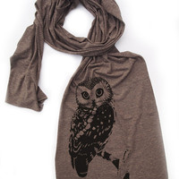 OWL Scarf - Unisex Long Vintage Soft Tri Blend Jersey american apparel (3 Color Options)