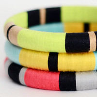 Colorblock Layered Bangles with Stripes Mix & Match Any 3 - no. 500