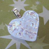 White Dichroic Glass Heart Pendant Love Token by mysassyglass
