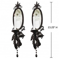 Wake Up Frankie - Black Mirrored Taper Wall Sconce (Set of 2)