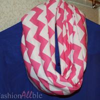 Pink and White Chevron Infinity Scarf