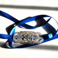 Silver Beaded Royal Blue Ribbon Headband by SomethingColorful