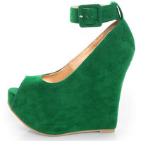 Luichiny Roll Call Green Peep Toe Super Platform Wedges