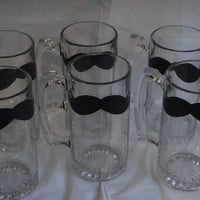Groomsmen Chalkboard Mustache Beer Mugs Set by madebytheresarenee