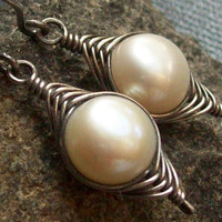 Large Freshwater Pearl Wire Woven Earrings Oxidized by MsRose