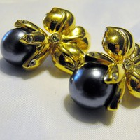 Designer Signed Shakira Caine Black Pearl Blossom Earrings from giltygirlvintage on Ruby Plaza
