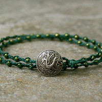 Men's Braided Wrap Bracelet with Dragon Button and Green Seed Beads