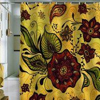 Gina Rivas Design Henna Floral Shower Curtain
