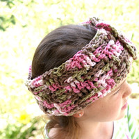 Womens Crochet Ear Warmer Headband,  Pink Camo Headband, Adjustable Headband, Ski Band, Workout Headband, Womens Hairband, Winter Hairband