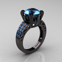 Modern Vintage 14K Black Gold 3.0 CT Blue Topaz Wedding Ring, Engagement Ring R302-BGBT