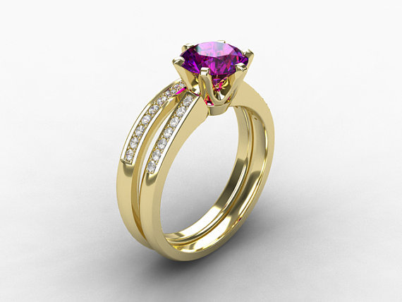 Engagement ring set amethyst ring from torkkelijewellery for Amethyst diamond wedding ring set
