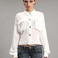 White Vintage Irregular Hem Shirt S010036
