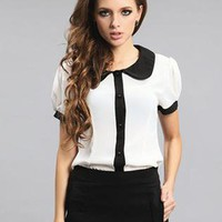 Black Collar Short Sleeved White Shirt S010031