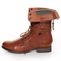 Steve Madden Forestr Cognac Leather Convertible Combat Boots - $149.00