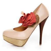 Diva Lounge Lorane 201 Nude Ruffle Color Block Platform Pumps - &amp;#36;29.00