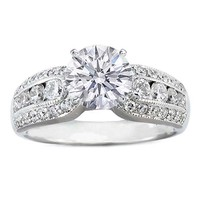 Engagement Ring - Round Diamond Horse Shoe Engagement Ring in Platinum 0.80 tcw. - ES411PL