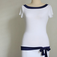 Polka Dot Top with a Boat Neckline and a Bow Knot by tasifashion