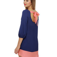 Cute Blue Dress - Shift Dress - Color Block Dress - $35.00