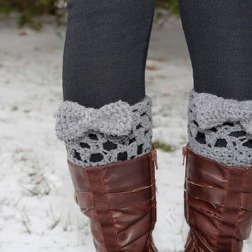 Grey crocheted boot cuff leg warmers with bow--Ready to ship