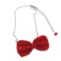 Bow Necklace,Red Sequin Bow Tie Necklace, Crochet Bow Necklace, Red Bow, Crochet Bow Tie, Statement Necklace, Gift for Her, Crochet Necklace