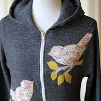 Liberty Love Bird Hoodie Charcoal Gray Small Medium by annajoyce
