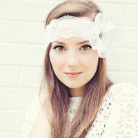 White Lace Headband with Flower Bow and button center Ready to Ship