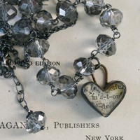 The Devotion Necklace - Vintage Glass, Handmade Ephemera Heart, Oxidized Sterling Silver | Luulla