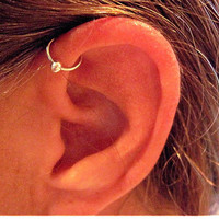 No Piercing Sterling Silver Ear Cuff Helix Cuff &quot;Captive Ball&quot; Handmade