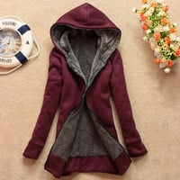 MultiColor Womens Warm Fleece Sweats Hoodie Jacket Coat