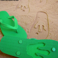 Custom Animal Track Sand Imprint Flip Flops