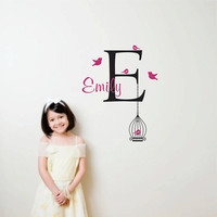 Personalized Monogram Wall Decal with Birdcage, Removable vinyl wall art