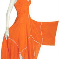 Orange Gauzy Cotton Mexican Halter Dress
