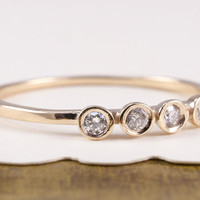 Diamond Ring, 14K Gold Ring, 4 Diamonds Ring. Yellow Gold Ring, White Gold Ring, Rose Gold Ring, Diamonds Ring, Engagement Ring