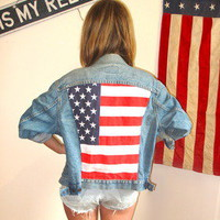 London Loves LA — Fly My Flag Star Spangled Banner Jean Jacket