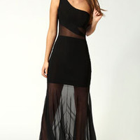 Evie One Shoulder Mesh Insert Fishtail Maxi Dress