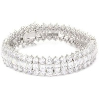 CZ by Kenneth Jay Lane Classic CZ Fabulous Three Row Cubic Zirconia Bracelet - designer shoes, handbags, jewelry, watches, and fashion accessories | endless.com