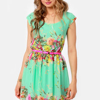 Bloomsday Mint Backless Floral Print Dress