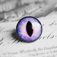 20mm handmade glass eye cabochon - purple cat or dragon eye