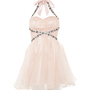 Shell Pink Embellished Halterneck Prom Dress