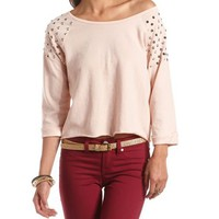 Studded Shoulder French Terry Sweatshirt: Charlotte Russe