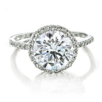 Bling Jewelry Vintage Style 925 Sterling Silver Round Brilliant CZ Engagement Ring