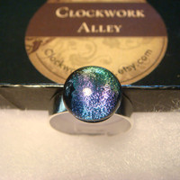 Silver  Dichroic Glass Galaxy Ring  - Adjustable (922)
